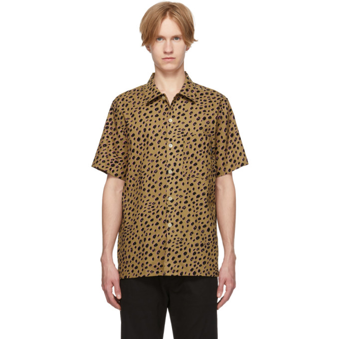 PS by Paul Smith Chemise a manches courtes brun clair Cheetah