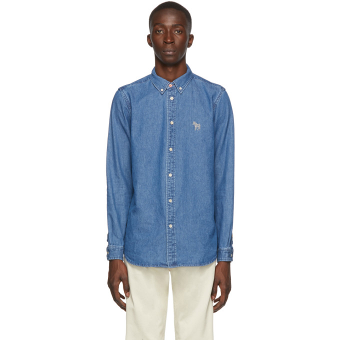 PS by Paul Smith Chemise ajustee en denim bleue Zebra