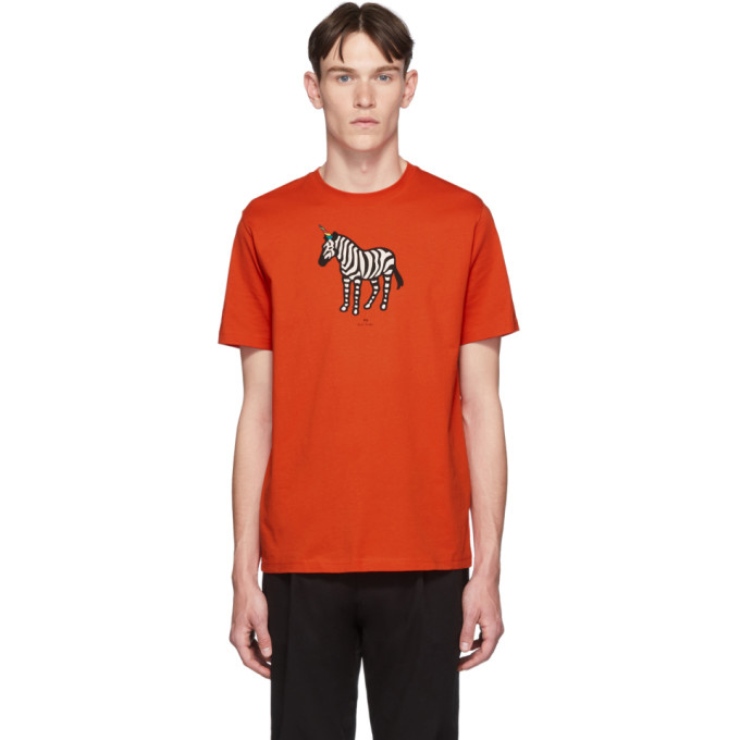 PS PAUL SMITH | PS By Paul Smith SSENSE Exclusive Red Zebra Regular Fit T-Shirt | Goxip