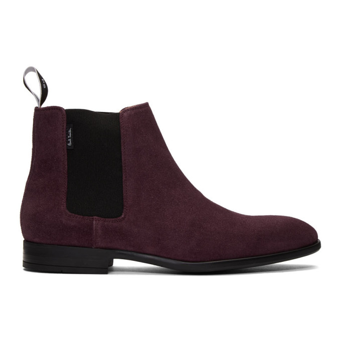 PS by Paul Smith Burgundy Suede Gerald Chelsea Boots