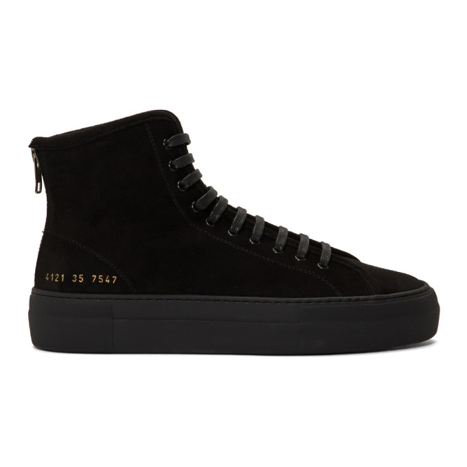 Woman by Common Projects Black Shearling Tournament High Sneakers