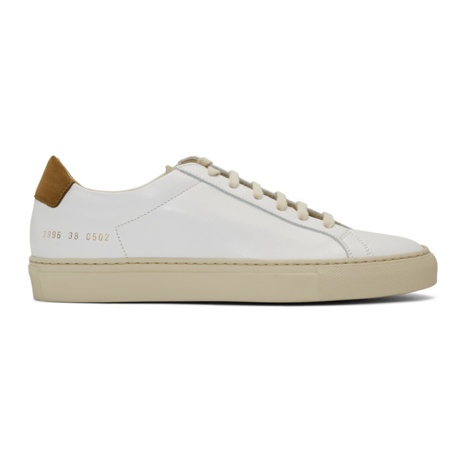 Woman by Common Projects White and Tan Retro Low Special Edition Sneakers
