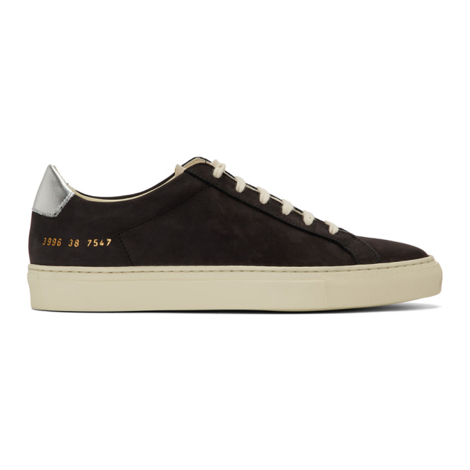 Woman by Common Projects Black and Silver Retro Low Special Edition Sneakers