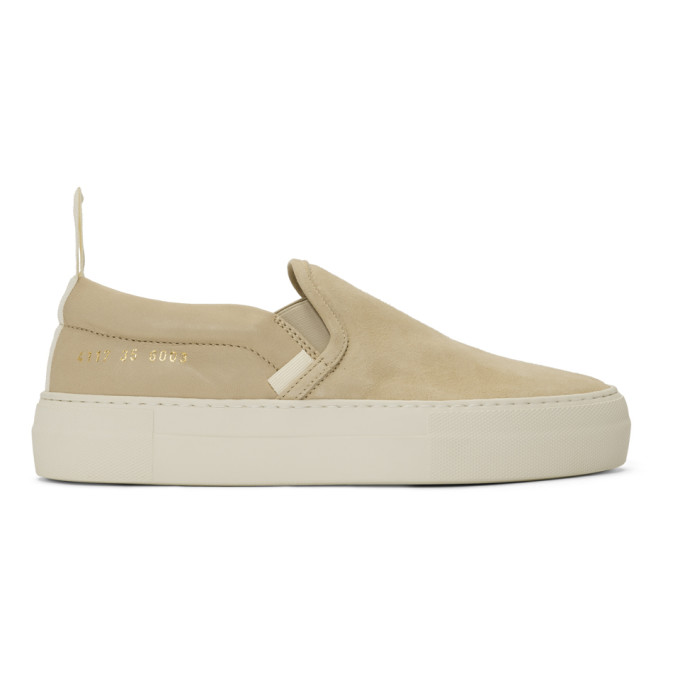 Woman by Common Projects Beige Leather and Suede Slip-On Sneakers