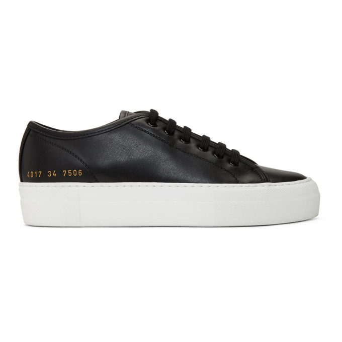 Woman by Common Projects Black and White Tournament Low Super Sneakers