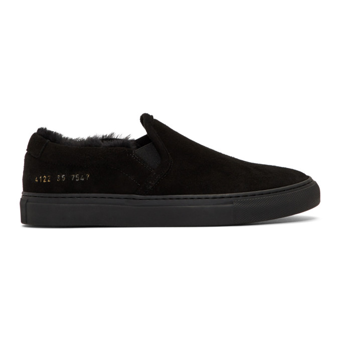 Woman by Common Projects Black Shearling Slip-On Sneakers