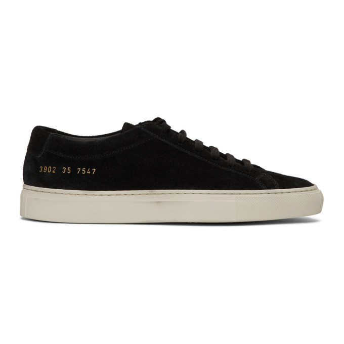 Woman by Common Projects Black Suede Original Achilles Low Sneakers