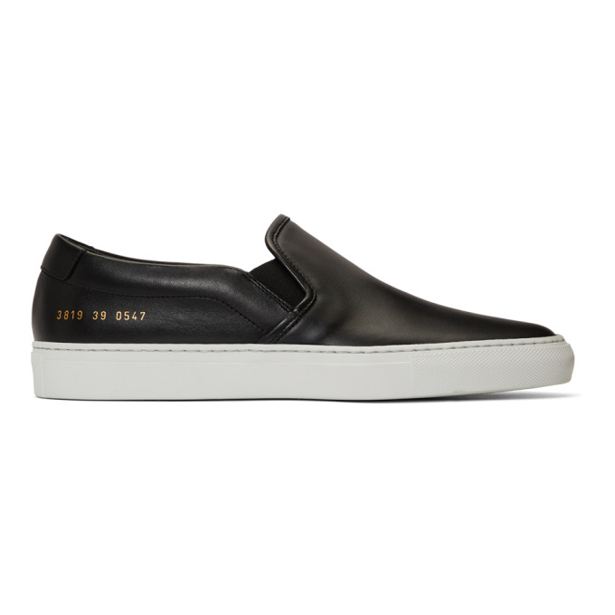 Woman by Common Projects Black and White Leather Slip-On Sneakers