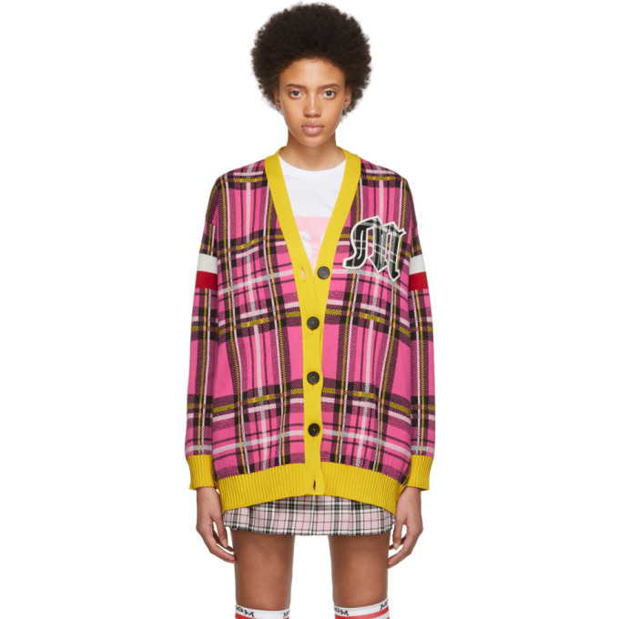 MSGM | MSGM SSENSE Exclusive Pink And Yellow Check Varsity Cardigan | Goxip