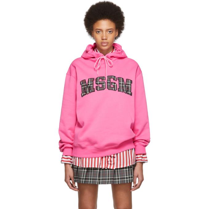 MSGM   MSGM SSENSE Exclusive Pink Logo Hoodie   Goxip