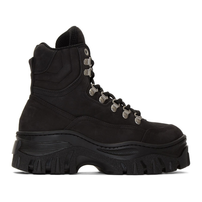 MSGM Black Tractor Sneakers