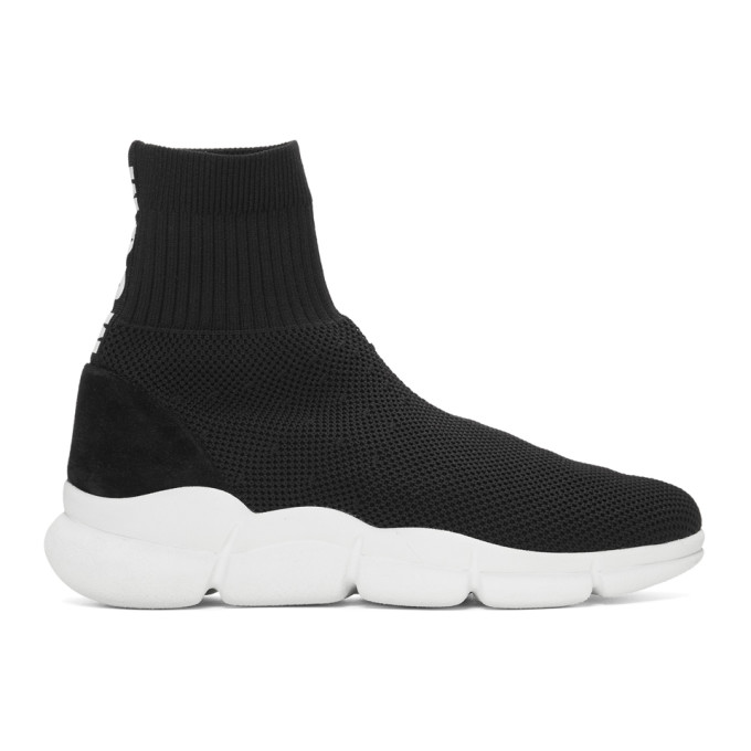 MSGM Black Z Waves Sock Sneakers