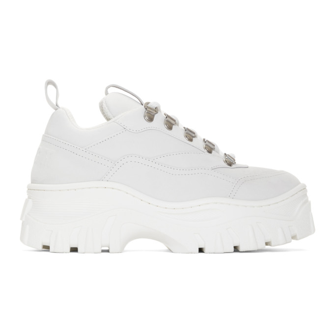 MSGM White Tractor Trek Sneakers