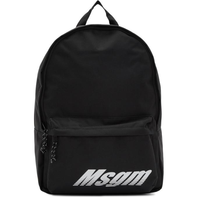 MSGM ブラック ロゴ プリント バックパック