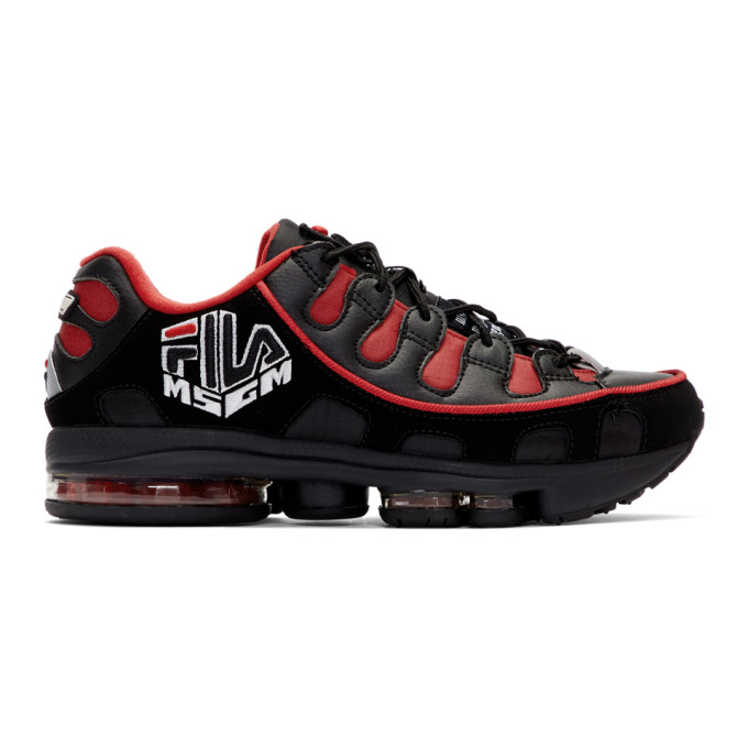 MSGM Baskets noires et rouges Silva Trainer edition Fila