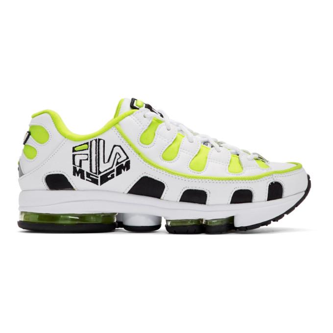 MSGM White and Yellow Fila Edition Silva Trainer Sneakers