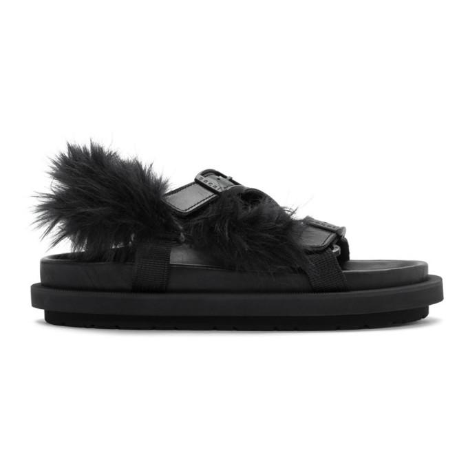Sacai Sandales en fourrure synthetique noires