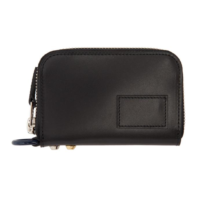 Sacai Black Leather Small Zip Around Wallet