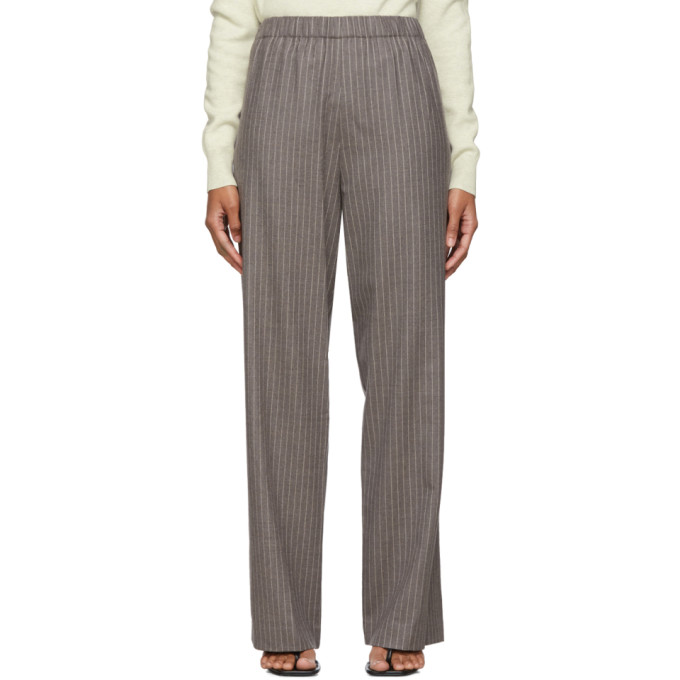 6397 Pantalon a rayures fines gris Pull-On Long