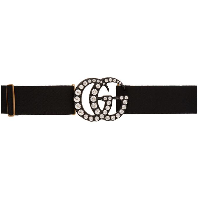 Gucci Ceinture noire Crystal GG