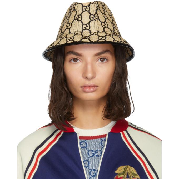 Gucci Chapeau en paille beige Small GG