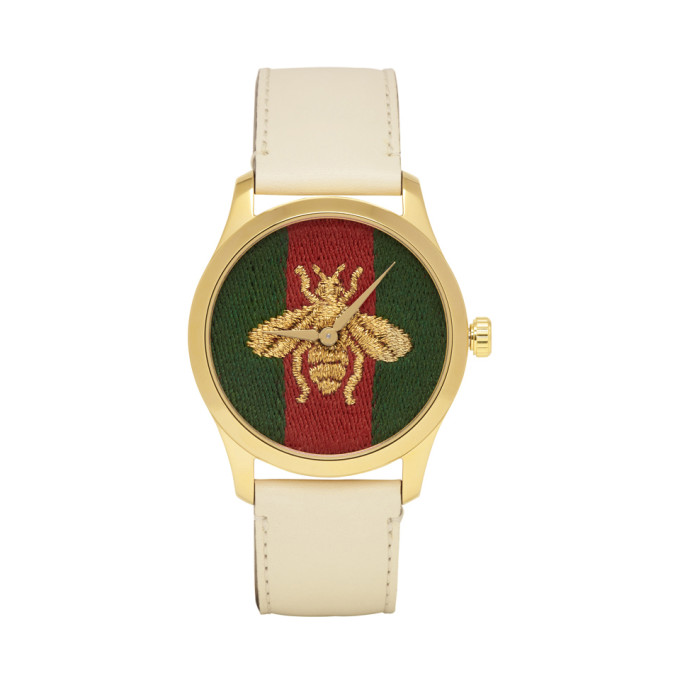 GUCCI | Gucci Gold And White Leather Bee G-Timeless Watch | Goxip