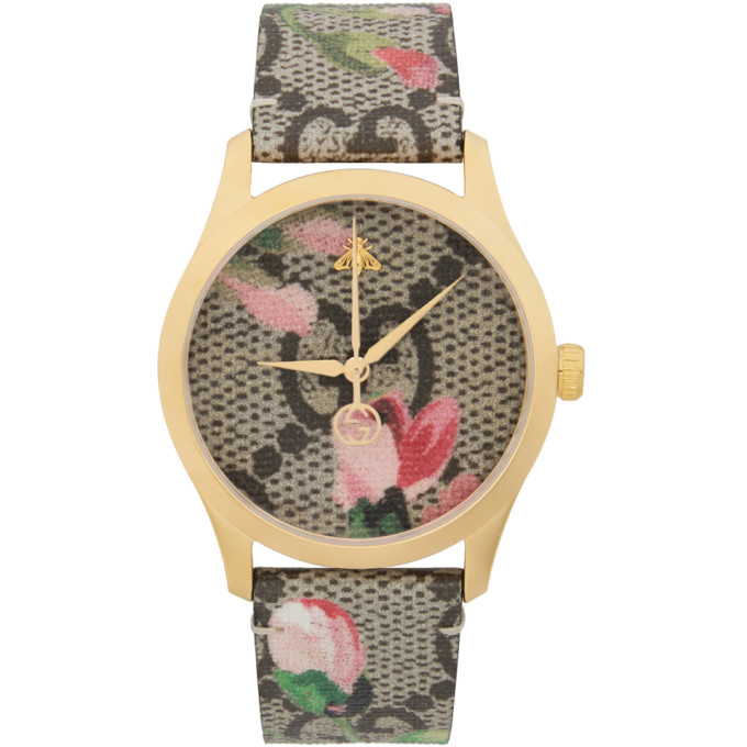 GUCCI | Gucci Gold And Multicolor Floral GG G-Timeless Watch | Goxip