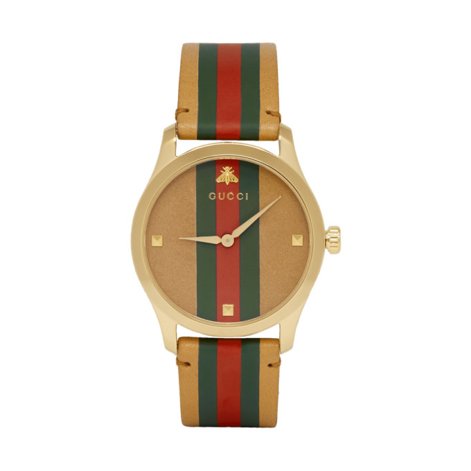 GUCCI | Gucci Tan And Gold Striped Leather G-Timeless Watch | Goxip