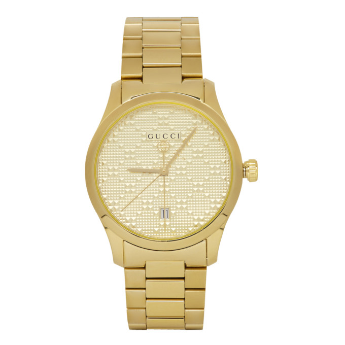 GUCCI | Gucci Gold Pyramid Iconic G-Timeless Watch | Goxip