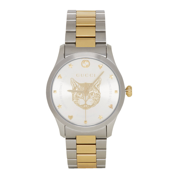 GUCCI | Gucci Gold And Silver Cat Iconic G-Timeless Watch | Goxip