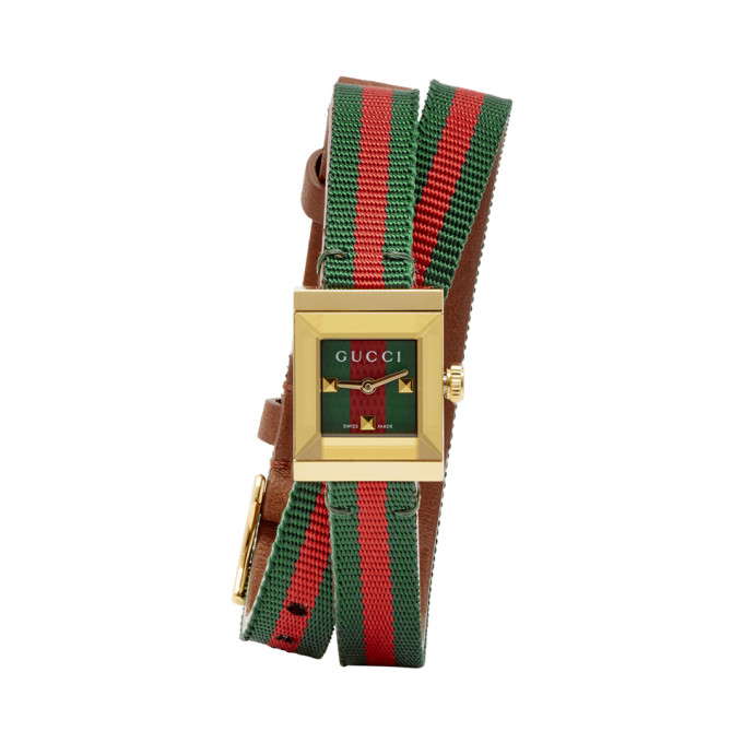 GUCCI | Gucci Gold Square Web Double Wrap G-Frame Watch | Goxip