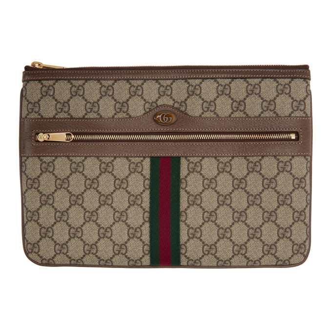 Gucci 棕色 GG Supreme Ophidia 手袋