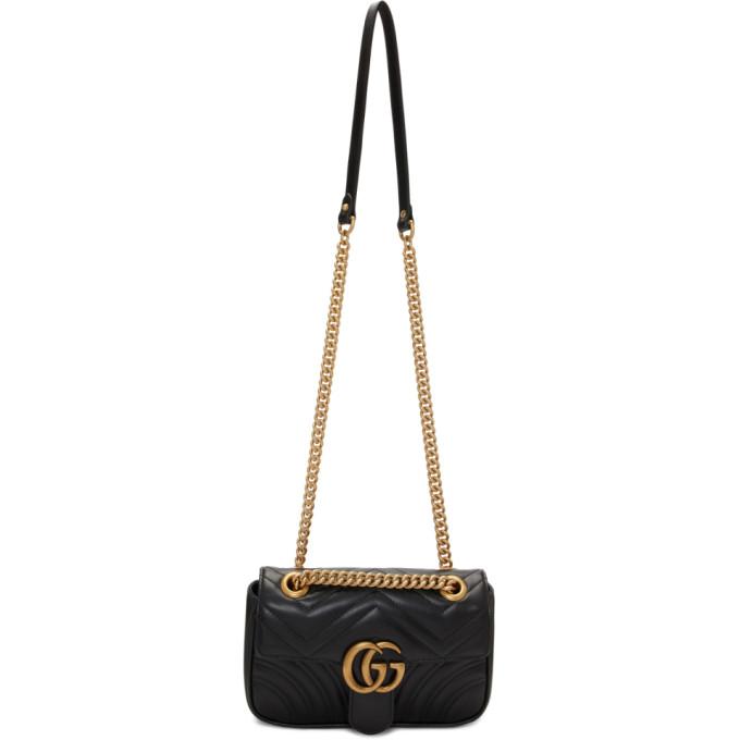 GUCCI   Gucci Black Mini Marmont Bag   Goxip