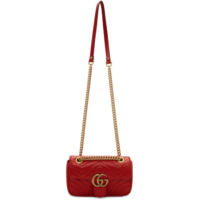 GUCCI | Gucci Red Mini Marmont Bag | Goxip