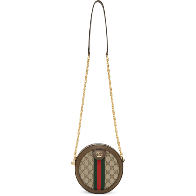 GUCCI | Gucci Brown And Beige Round GG Ophidia Bag | Goxip