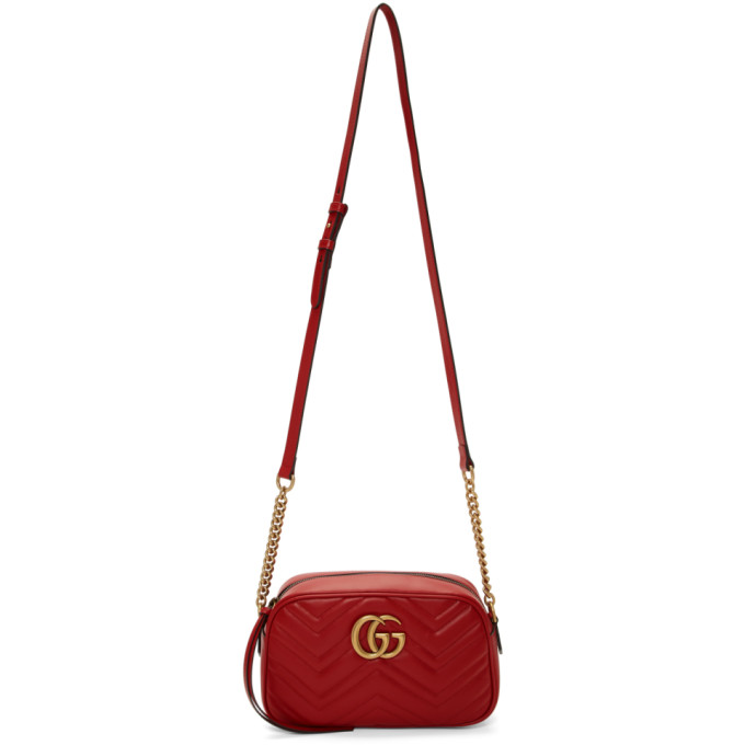 GUCCI | Gucci Red Small GG Marmont Camera Bag | Goxip