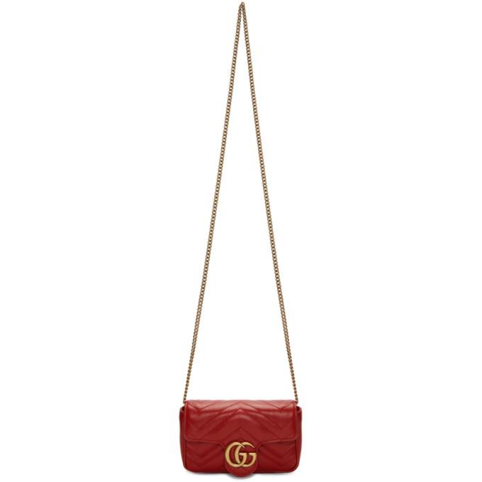 GUCCI | Gucci Red Super Mini GG Marmont Bag | Goxip