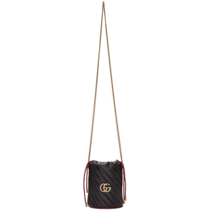 Gucci 黑色 Torchon GG Marmont 水桶包