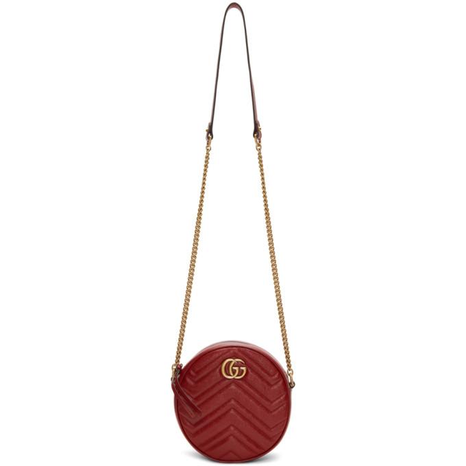 GUCCI | Gucci Red Mini Round Marmont Bag | Goxip