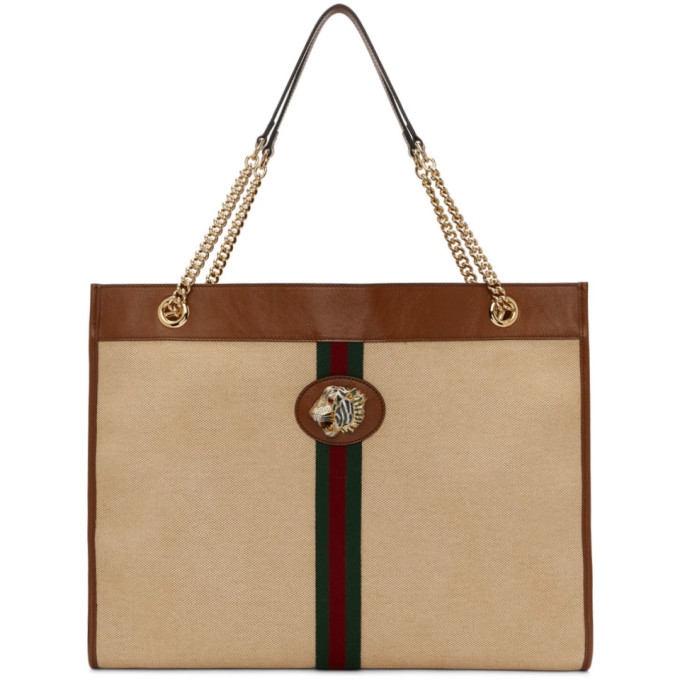 Gucci Totes GUCCI BEIGE LARGE RAJAH TOTE