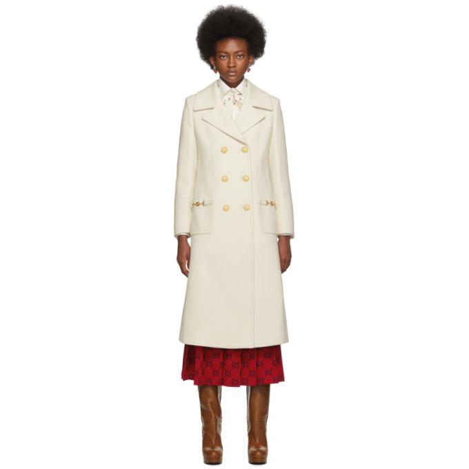 オフホワイト ダブルブレスト コート