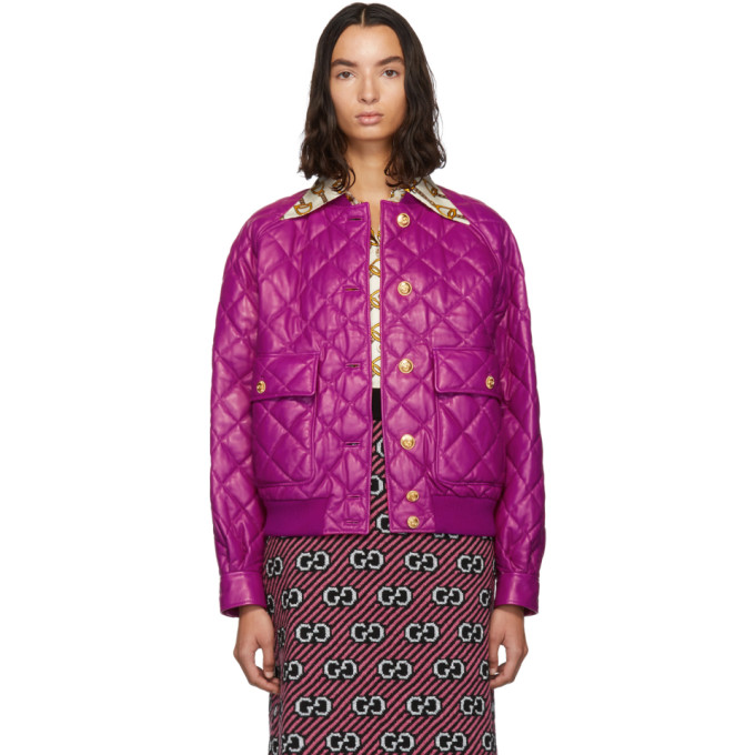 Gucci Jackets GUCCI PINK QUILTED BOMBER JACKET