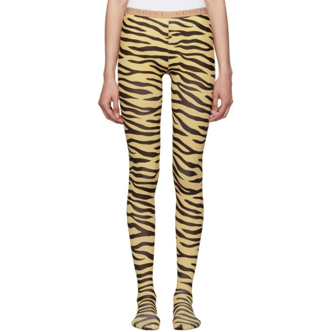 Gucci Collant noir et beige Zebra Print