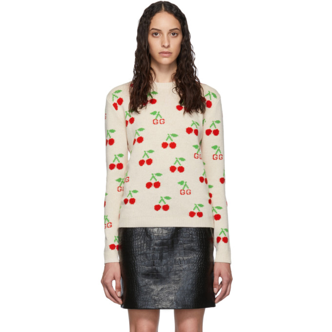 Gucci Knitwear GUCCI BEIGE CHERRIES KNIT SWEATER