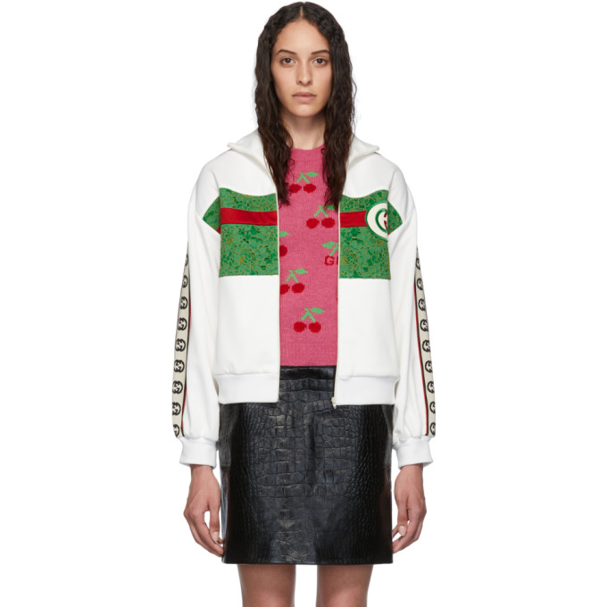 Gucci Sweaters GUCCI WHITE AND GREEN LACE EMBROIDERED ZIP-UP SWEATER