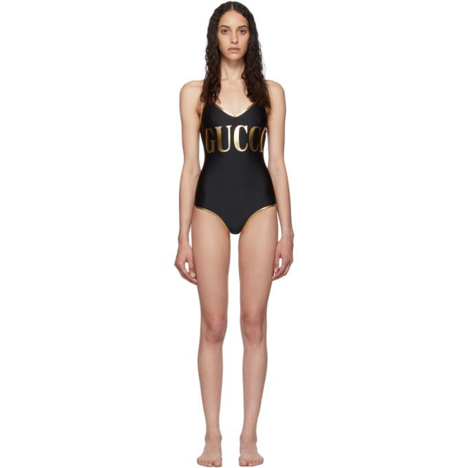Gucci Maillot de bain une piece a logo noir et dore