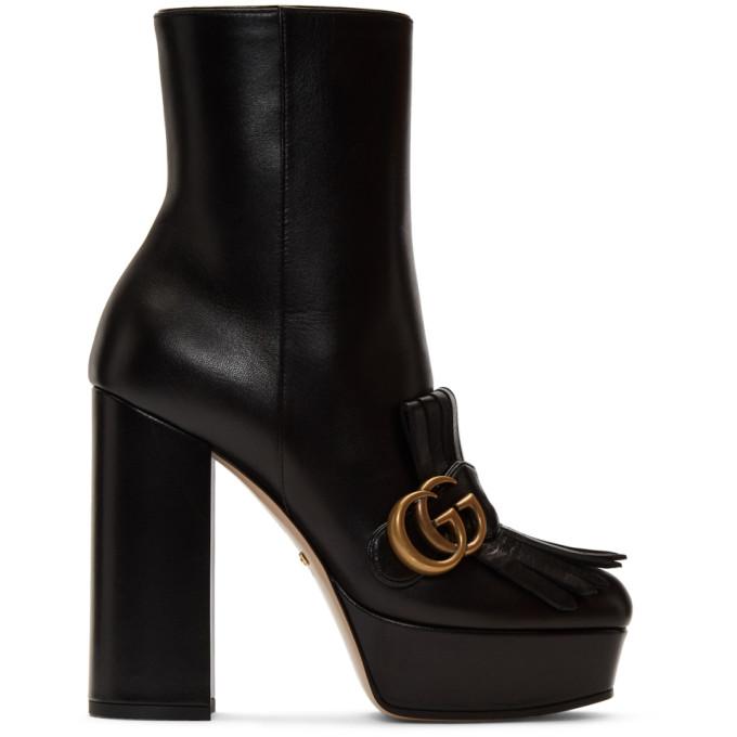 Buy Gucci Black Leather Fringe GG Platform Boots online