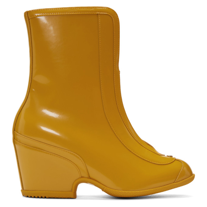 Buy Gucci Yellow Rubber Kitt Ankle Boots online