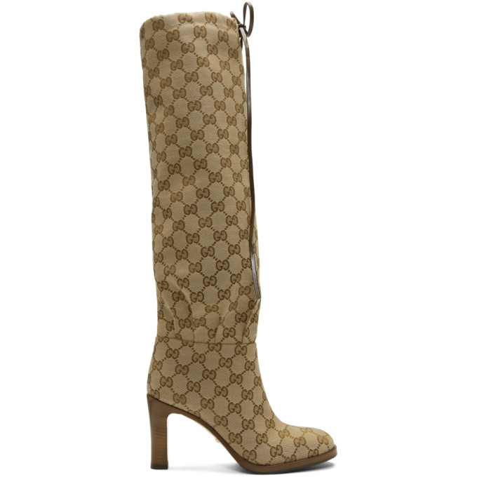 Gucci Beige GG Canvas Mid-Heel Boots