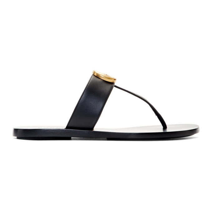 Gucci Black GG Marmont Sandals
